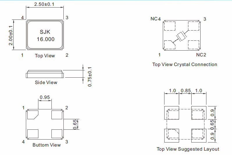 SMD-2520-Glass-Crystal-Dimensions