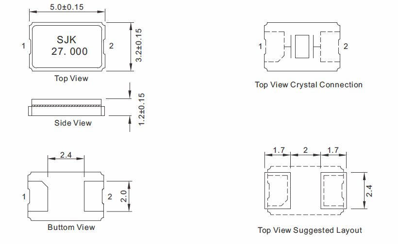 SMD-5032-Glass-Crystal-Dimensions